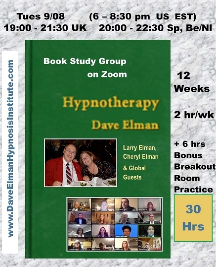 HYPNOTHERAPY Book Study Group on Zoom (30 hr) 2+ hr/wk 12 wks